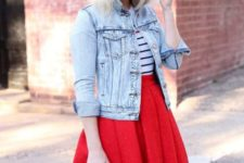 With striped shirt and denim jacket