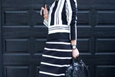 With striped shirt and skirt