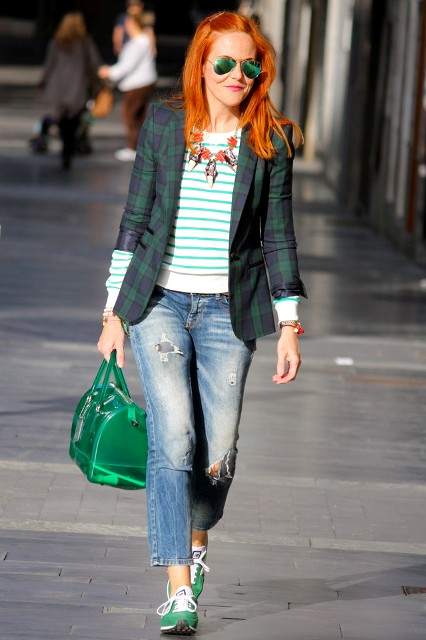 With striped shirt, checked jacket, green bag and crop jeans