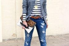With striped shirt, printed jacket, jeans, brown belt and leopard print clutch