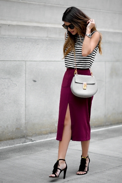 With striped top, gray crossbody bag and black sandals