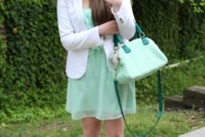 With white blazer, mint green bag and pale pink flats