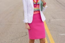 With white blazer, printed shirt and mint green flats