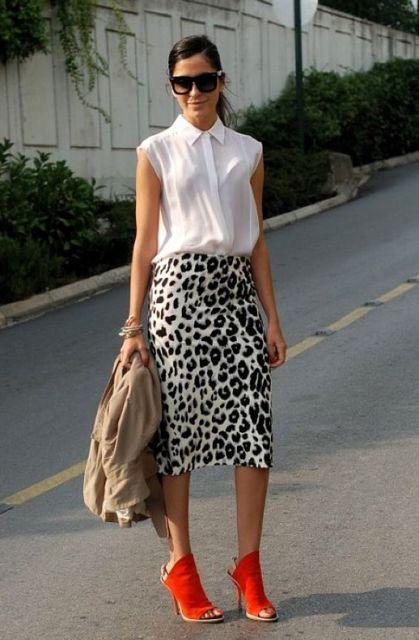 With white blouse, orange heels and beige jacket