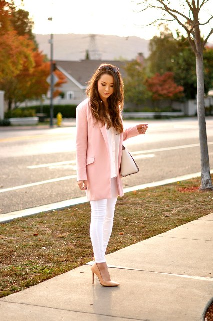 With white blouse, skinny pants, beige shoes and bag