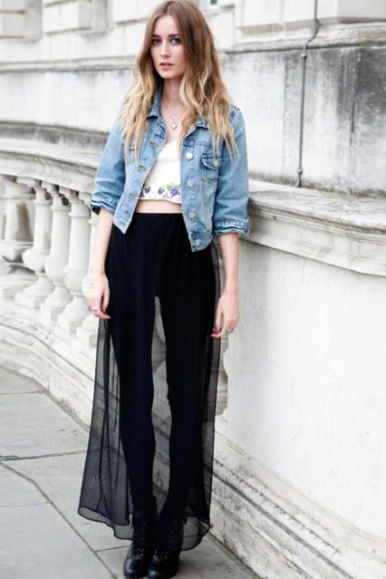 With white crop top, denim jacket, black skinny pants (or leggings) and boots