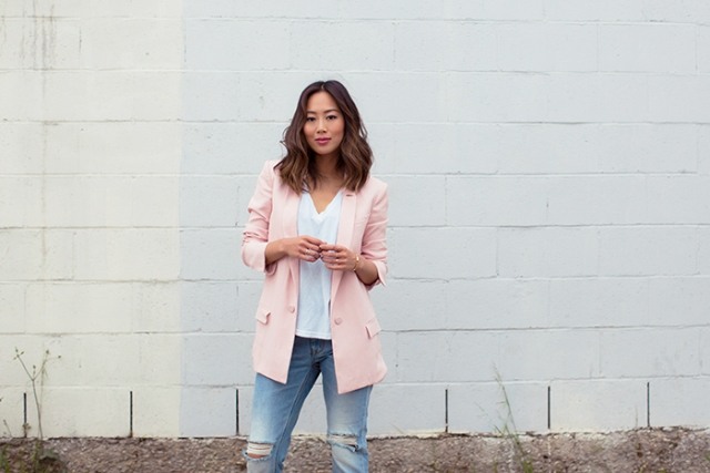 With white loose shirt and jeans