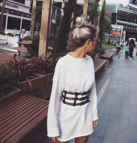 With white mini dress