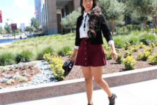 With white shirt, black blazer and ankle boots