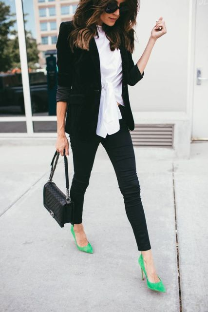 With white shirt, black blazer and skinny pants