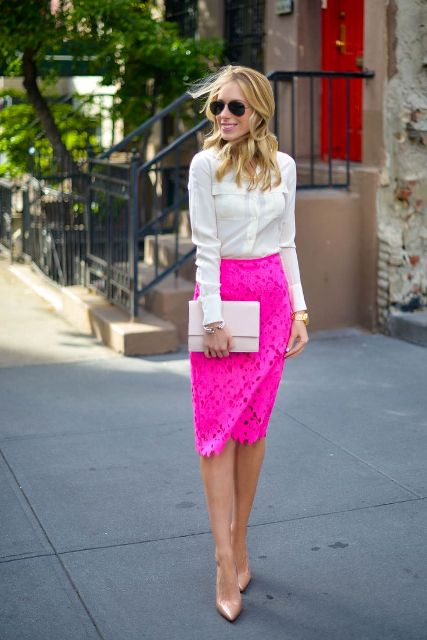 24 Flirty Outfits With Hot Pink Skirts Styleoholic
