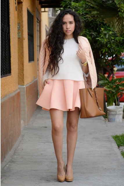 With white shirt, pale pink mini skirt and brown leather bag