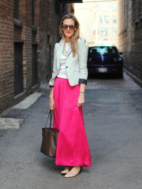 With white shirt, striped blazer, printed tote and beige shoes