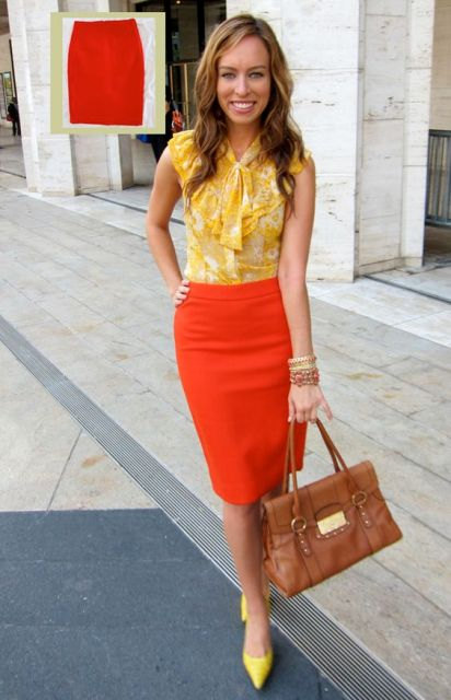 With yellow blouse, brown leather bag and yellow pumps