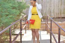With yellow dress, metallic belt, white blazer and red clutch