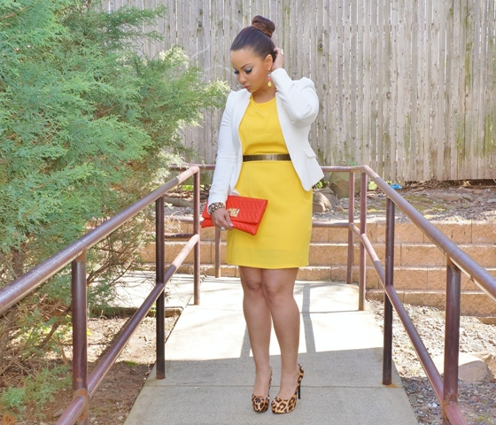 With yellow dress, metallic belt, white blazer and red clutch