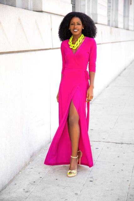 With yellow necklace and heels