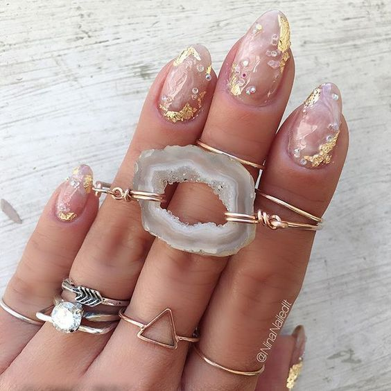 geode manicure using only gold glitter