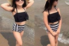 02 a black bow top and high waist striped shorts look timeless and chic