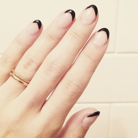 black French manicure on almond nails