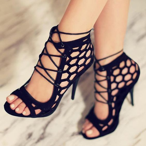super trendy summer sandals with black hexagon cutout lace up stiletto