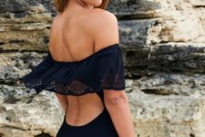 02 black one piece with a back cutout and lace detailing