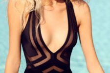 02 black strap one-piece swimsuit with geo prints and a plunging neckline