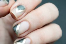 02 negative space nails with silver glitter and gold sticker stripes
