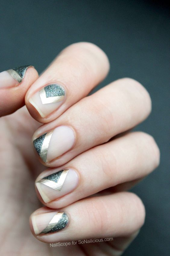 negative space nails with silver glitter and gold sticker stripes - 20 Chic And Timeless Geometric Nail Designs - Styleoholic