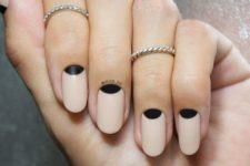 02 neutral nails with black half moon details can be suitable for work