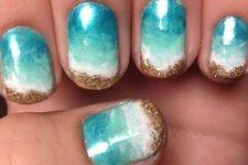 02 ombre turquoise nails from blue to white and sand-inspired glitter decor