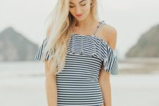 02 one piece swimsuit with a striped top on spaghetti straps