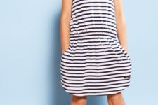 02 striped black and white casual dress with pockets and yellow stripes