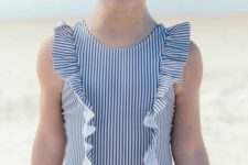 02 thin vertical stripe one piece swimsuit with ruffles
