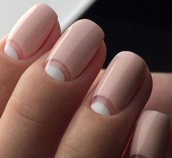 French half moon manicure in classic shades