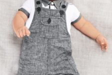 03 a white polo with grey details and a matching overall for a small boy