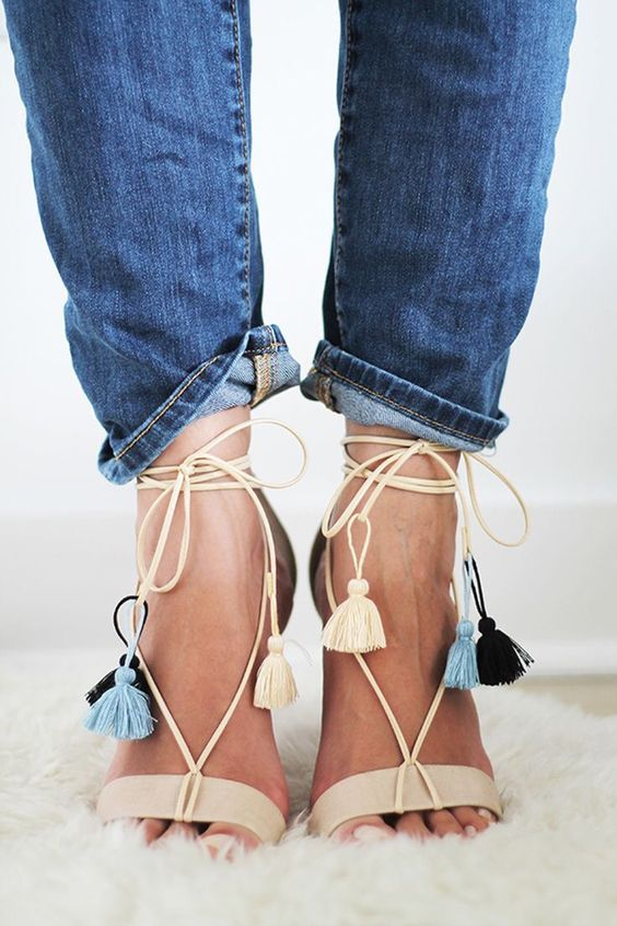 6b77cb0c9 super trendy summer sandals with black hexagon cutout lace up stiletto.  beige heeled sandals with colorful tassels