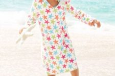 03 midi colorful star print coverup with sleeves can double as usual clothes