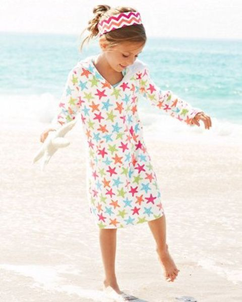 midi colorful star print coverup with sleeves can double as usual clothes