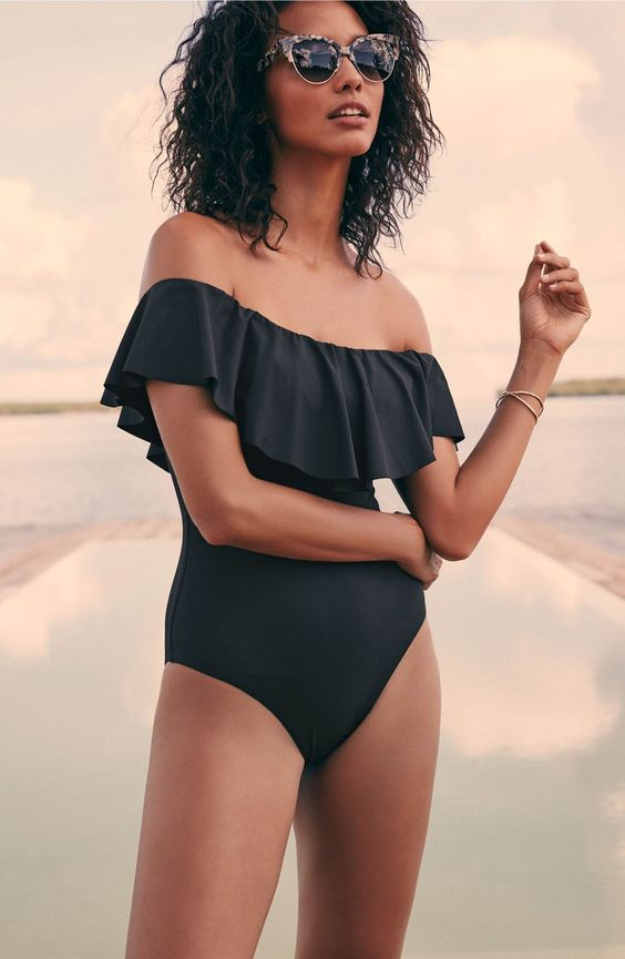 9a4c016ba1 Picture Of off the shoulder black one piece bathing suit