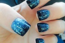 03 ombre blue manicure from light icy blue to navy and with glitter