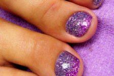03 ombre purple glitter toe nails