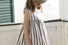 03 simple striped grey and white dress with cap sleeves
