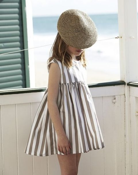 simple striped grey and white dress with cap sleeves