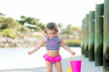 04 a striped top and bottom with pink ruffles