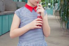 04 chic thin striped dress with cap sleeves and a red collar