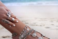 04 gypsy statement anklet with pearls, coins and rhinestones