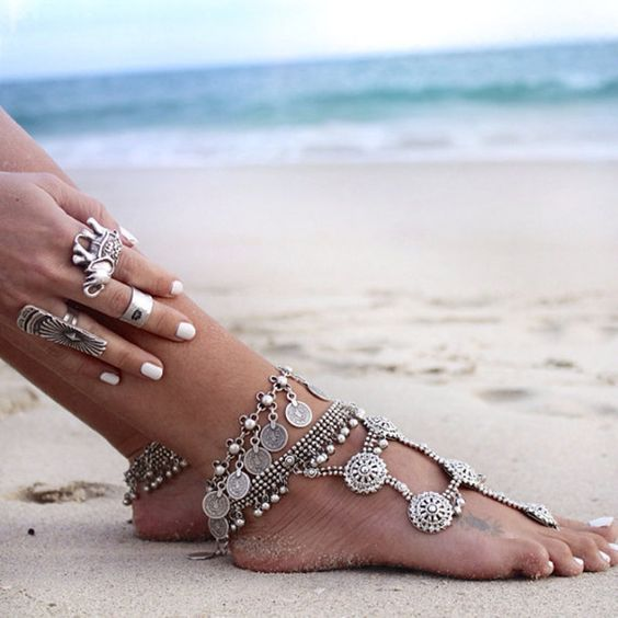 gypsy statement anklet with pearls, coins and rhinestones