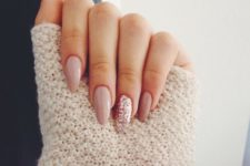 04 nude nails and a pink glitter accent one