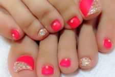 05 coral red nails and accent gold glitter halves